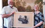 De familie Arends met de tekening van Stien Eelsingh.