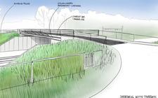 Sfeerimpressie van de nieuwe brug bij Witte Paarden die deels gebouwd wordt met hulpbalken van een zeesluis in IJmuiden.